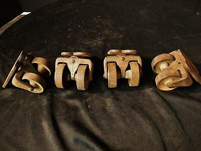 Nice Antique DOUBLE WHEEL CASTER SET Furniture Table Piano Industrial Steampunk