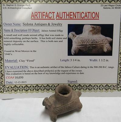 Jalisco Clay Animal Effigy  Authentic Artifact Comes With COA 500-200 B.C.