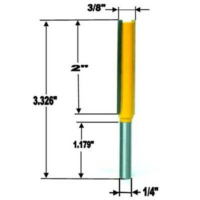 """1 Pcs 1/4"""" Shank 2"""" Extra Long Straight Router Bit - 3/8""""Wx2""""H"""