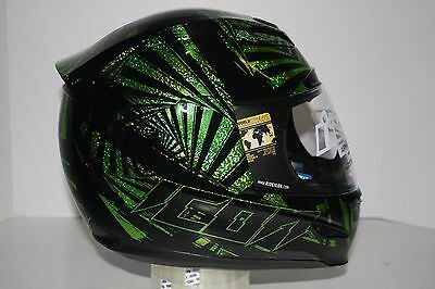 Open Box Icon Airmada Spaztyk Full Face Motorcycle Helmet Black/Green XL