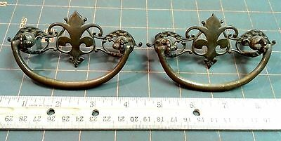 Set of 2 Antique Brass Victorian Drawer Pulls Original Screws and Patina C 1900