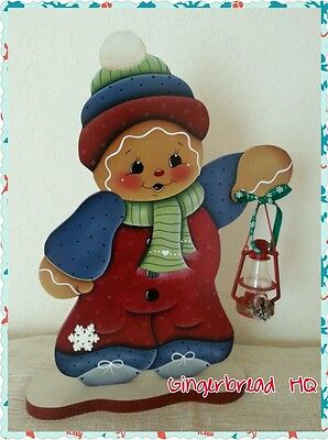 HP Hand Painted Standing Gingerbread Boy Figurine with  Lantern,  Christmas.