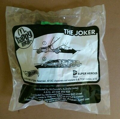 "2016 mcdonalds happy meal toys hotwheels super heroes ""the joker"" in bag"