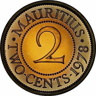 Mauritius 2 Cents 1978 Proof ~Fully Red Gem & Lightly Toned~