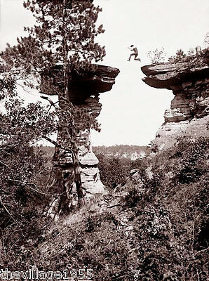 Postcard / Leaping the Chasm at Stand Rock, Wisconsin Dells / H Bennett / 1887