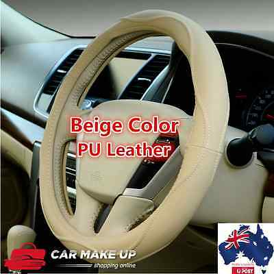auto car steering wheel cover universal PU leather steering wheel cover in Beige