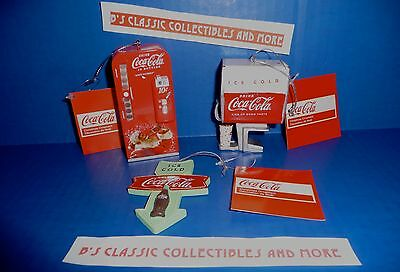 Coca Cola Christmas Ornaments Set of 3-Coke Vending Machine/Dispenser/ Sign New!