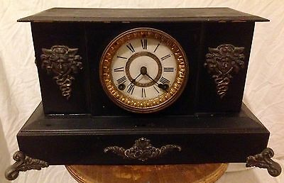 Ansonia Late c19th New York Caste Iron Lion Head And Medusa Mantle Clock