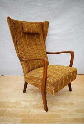 Mid Century Retro Danish Madsen & Schubell Style Teak High Back Lounge Arm Chair
