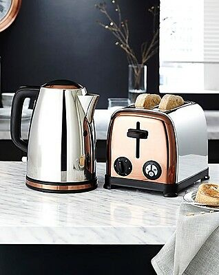 Luxury COPPER AND STAINLESS STEEL Kettle & 2 SLICE TOASTER Set Retro Industrial