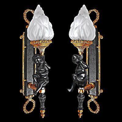 Impressive French Empire Gilt Bronze Putti Angel/ Glass Torch Wall Light Sconces • CAD $1,367.10