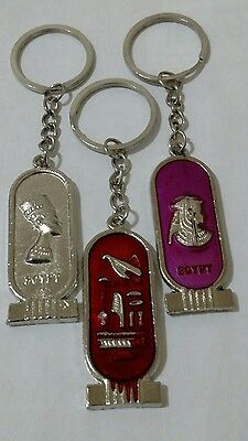 Lot of 3 Egyptian Antique Metal keychains king Tut, Queen Cleopatra & Nefertiti