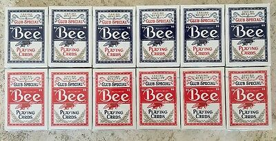 BEE Playing Cards #92 Poker Cards 12 Decks 6 Blue, 6 Red,  Brand New USA