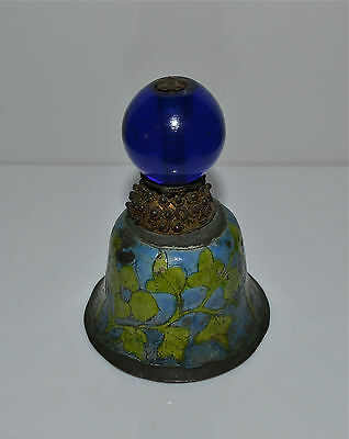 Antique Chinese Blue Glass Hat Finial Button on Enameled Bell Qing Rank