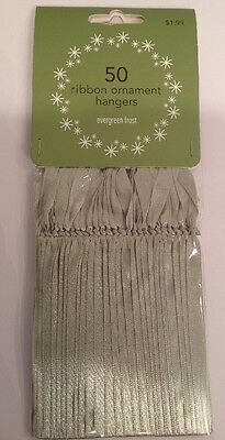 MARTHA STEWART Ribbon Ornament Hangers EVERGREEN FROST Green 2006 Hard to Find