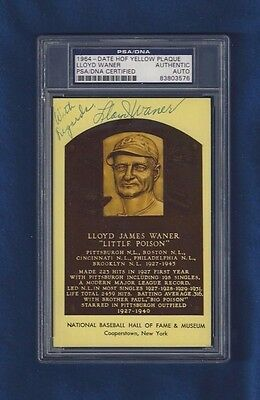 Lloyd Waner Autographed Baseball Hall of Fame Plaque Postcard PSA Slabbed