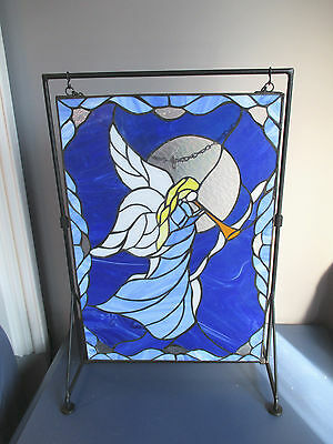 "Stained Glass Picture Angel Trumpet Horn Panel Iron Stand Blue White 14"" x 20"""