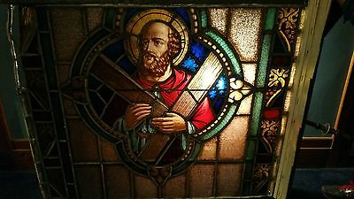 Antique Gothic Stained Glass Church Window Leaded