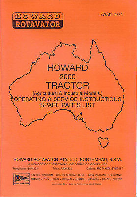 Howard 2000 Tractor (Agricultural & Industrial Models) operating, service