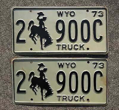 1973 Wyoming Truck License Plate Pair / Set