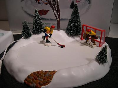 Dept 56 Village Animated Hockey Player  52512 Works Great A Must Have, Boxed