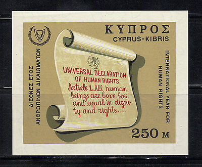 Cyprus Mnh S/s #313 ~ Issued 1968 ~ Intl Human Rights Year