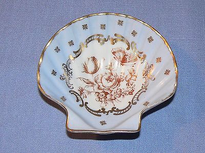 Limoges France porcelain pin tray dish scallop blue gold seashell shell ocean