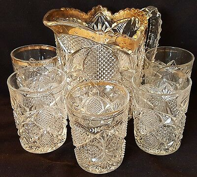 Antique Crystal Pitcher & 5 Glasses - Heavy Hand Pressed - Diamonds & Fans -Gold