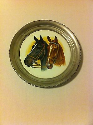 Vintage Revere Pewter with Porcelain Center Horse Plate
