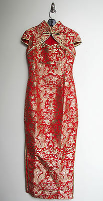 Red & Gold Long Cheongsam Qipao Traditional Chinese Wedding Dress