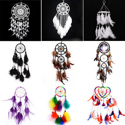 Various Handmade Dream Catcher with Feathers Wall Car Hanging Decor Ornament