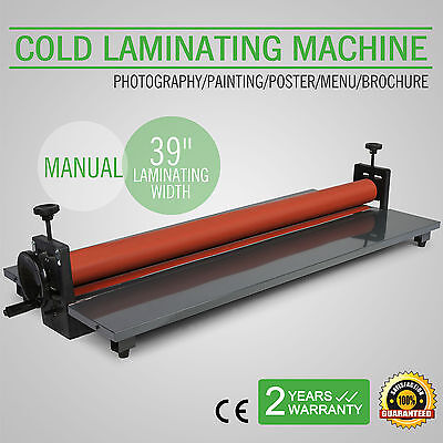 "39"" Roll Laminator Four Rollers Cold Laminating Machine 1000mm Manual"