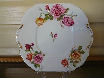 """Vintage Hammersley """"Morgan's Roses"""" Cake Plate Made In England Mint Condition"""