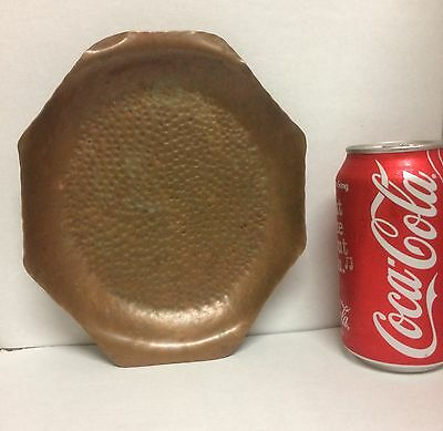 ARTS & CRAFTS Hand-Hammered COPPER Small Shallow Octagonal BOWL
