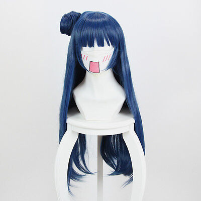 Love Live! Sunshine! Aqours Tsushima Yoshiko Dark Blue Long Hair Wig Cosplay