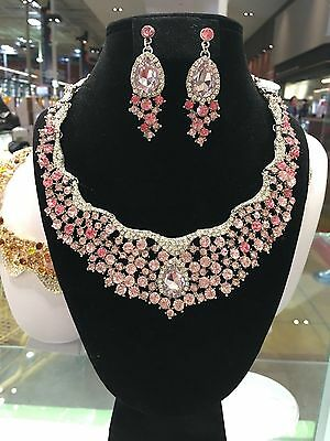 Jewelry Wedding Party Set Rhinestone Neclace Earrings Crystal Pink New