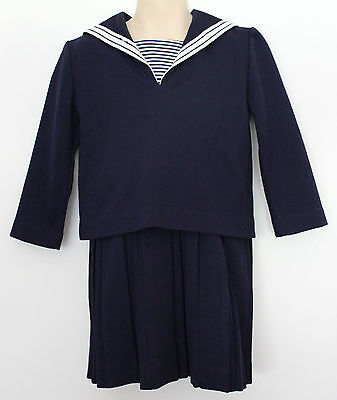 VINTAGE 1960'S Girls Navy Blue & White 2 Piece Sailor Suit w Pinafore Skirt ~ 4