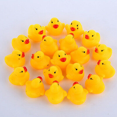 20 Pcs Rubber Ducks Baby Kids Children Water Bathing Fun Toys Squeaky Glitzy