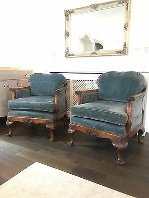 Vintage Chairs - Pair Of Antique Victorian French Style Bergere Armchairs