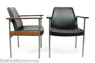 Pair of Rosewood and leather Armchairs by, Dokka Norway, 1960`s