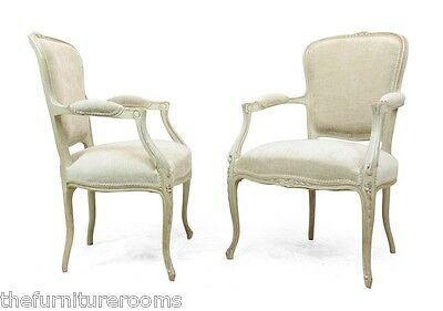 Pair of Louis xv style painted chairs c1880