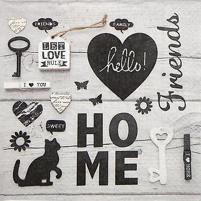 4x Paper Napkins for Decoupage Decopatch Craft - Let Love Rule