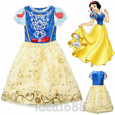 Girls Children Snow White Disney Fancy Dress Costume Kids Princess Outfit