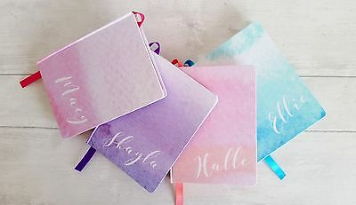 Personalised Handmade Notebook / Journal watercolour wash design 7 shades MEDIUM