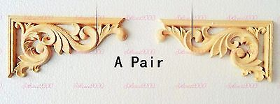 New A Pair of Unpainted Wood Carved Corner Onlay Applique Frame Furniture Decor.