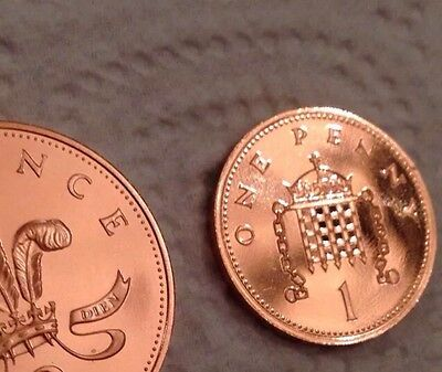 1986  PROOF Two Pence & One Pence Coin 2p 1p UNC Uncirculated Vintage