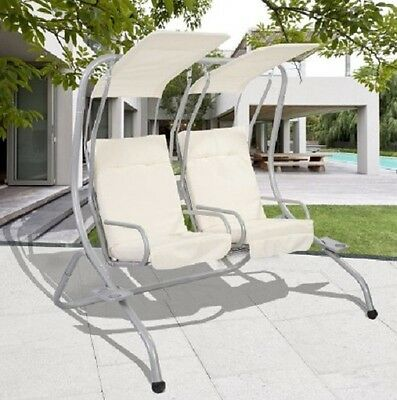 2 Seater Hammock Swinging White Swing Chair Outdoor Patio Steel Frame Cushioned