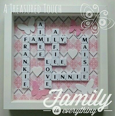 Handmade Personalised Scrabble Tile Frame Gift Birthday Christmas Anniversary