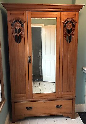Antique Oak Wardrobe Closet 1920s