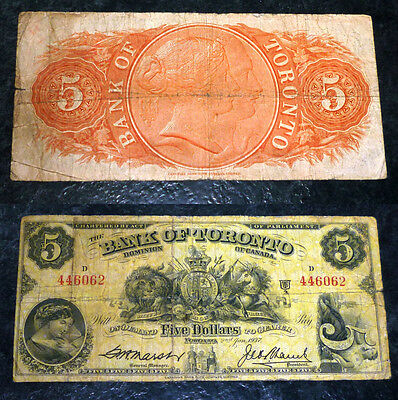1937 $5 Bank Of Toronto ,Canada Chartered BANKNOTE